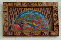 "Man with Loot or What's In The Water?: paint on purchased, unsigned, hand-carved antique wood plaque; 16""x10.5"""
